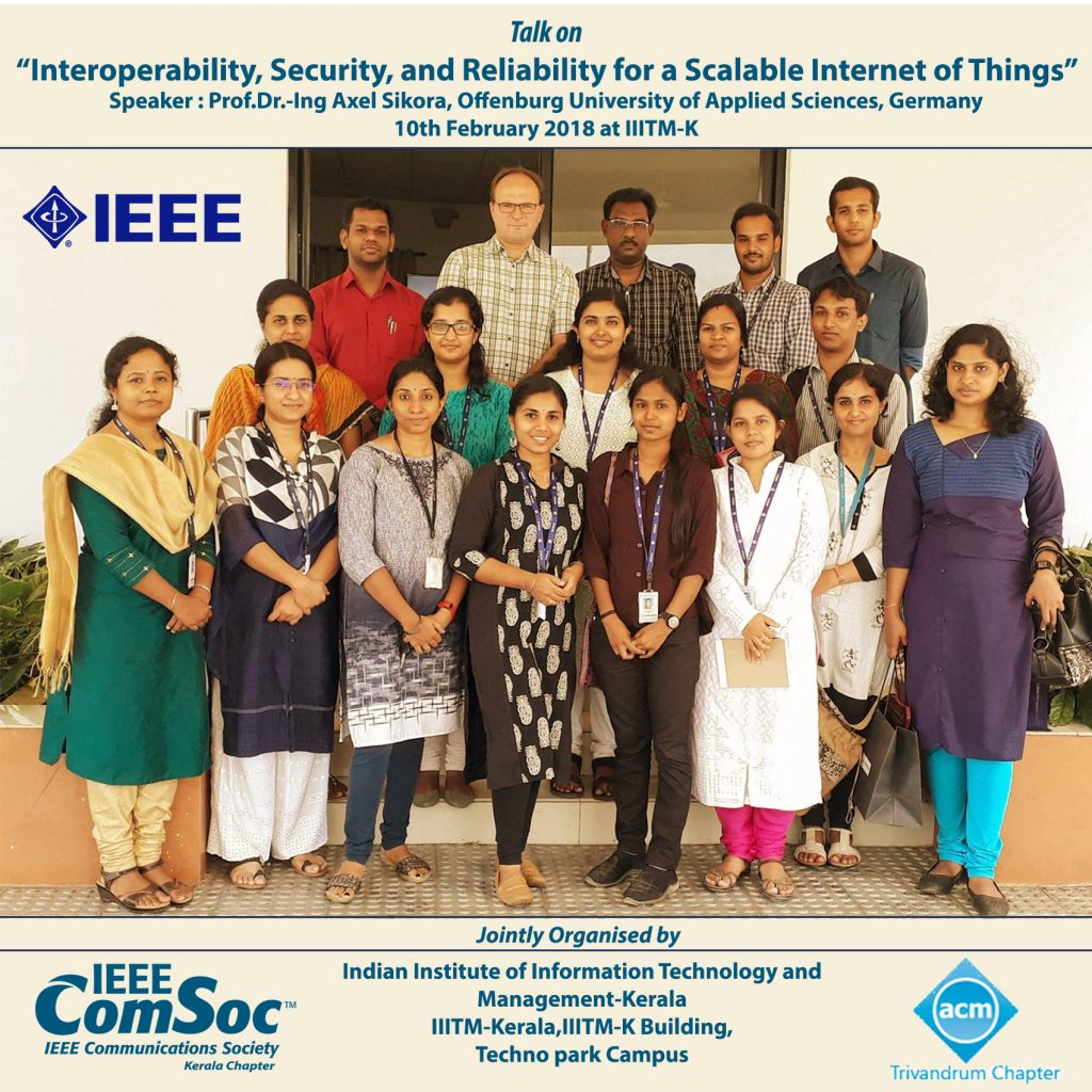 Talk on Interoperability, Security, and Reliability for a Scalable Internet of Things on 10th Feb at IIITM-K