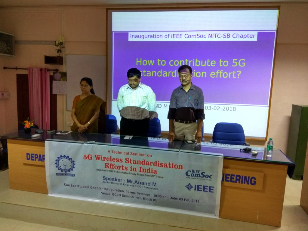 IEEE ComSoc Student Branch Chapter Inauguration & Technical Talk at NIT Calicut on 3rd February 2018