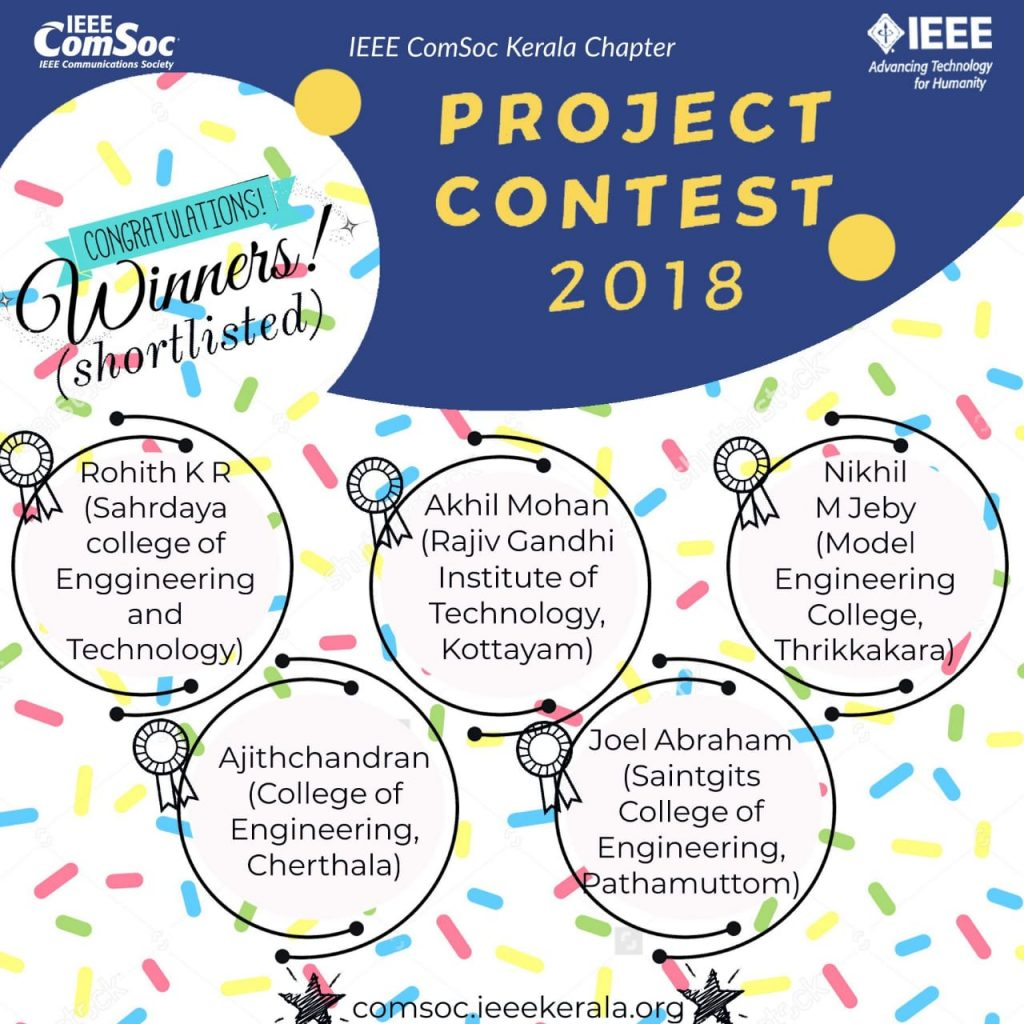Winners(Shortlisted) of IEEE Communication Society Project Contest 2018