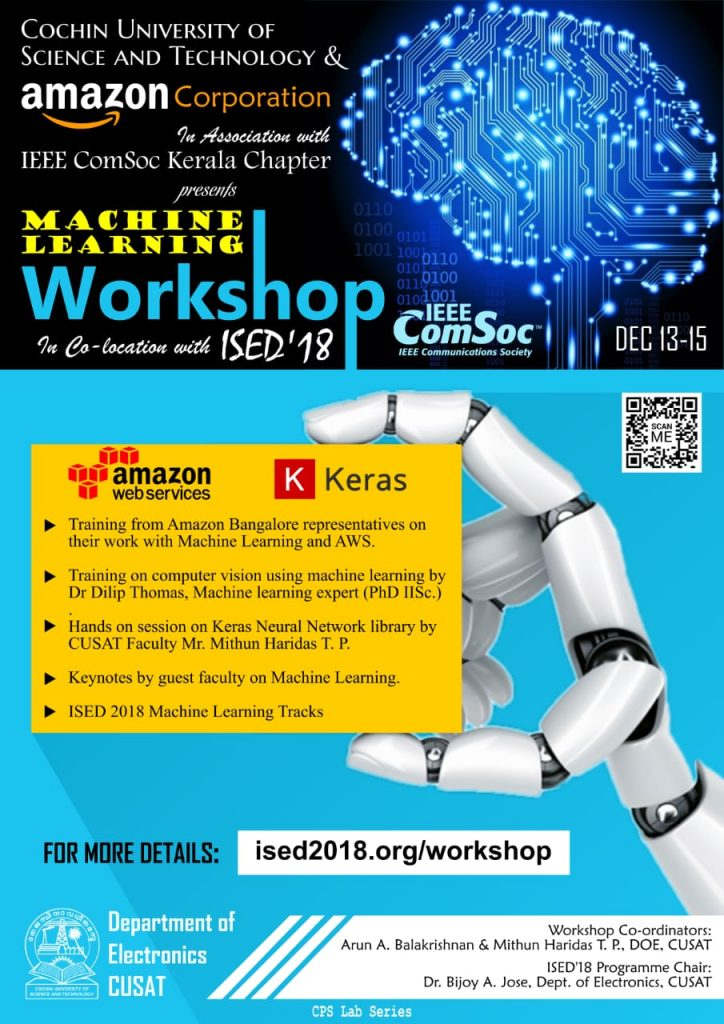 Machine Learning Workshop at Cochin University of science and Technology on December 13-15