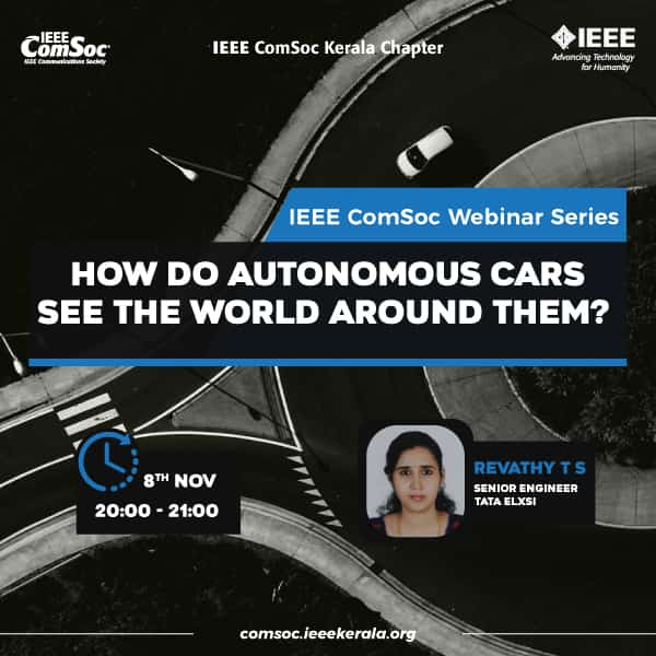 "Webinar on ""How Autonomous Cars See the World Around Them"" on 8th November 8.00 pm to 9.00 pm"